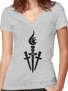 Black Celestial Torch Logo Women's Fitted V-Neck T-Shirt