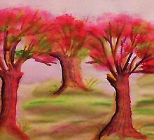 3 nice big trees , probly Oak, in watercolor by Anna  Lewis
