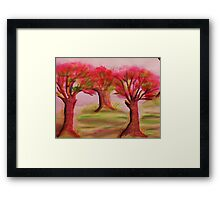 3 nice big trees , probly Oak, in watercolor Framed Print