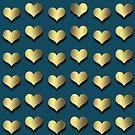 Golden Hearts on Navy Blue by Cherie Balowski