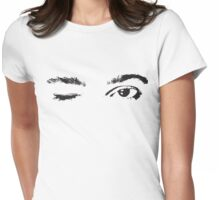 Pretty Pink Winking Eyes Womens Fitted T-Shirt