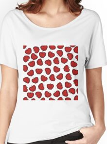 Cute Hand Drawn Red Fruity Apples Pattern Women's Relaxed Fit T-Shirt