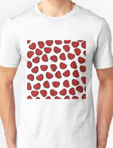 Cute Hand Drawn Red Fruity Apples Pattern T-Shirt