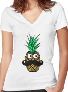 Funny Tropical Pineapple with Googly Eyes Mustache Women's Fitted V-Neck T-Shirt