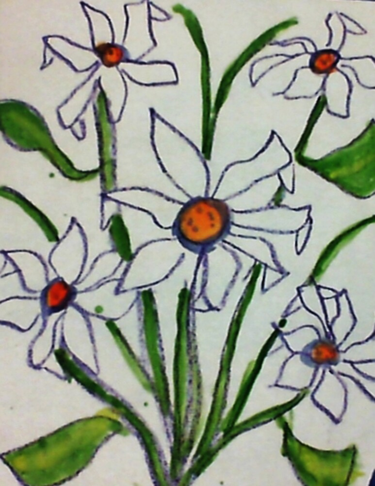 Bouquet of white flowers in watercolor by Anna  Lewis, blind artist