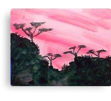 Africa series of pink sunset with trees on hill in black , watercolor Canvas Print