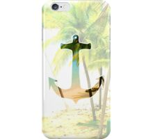 Cool Summery Anchor and Tropical Beach Scene iPhone Case/Skin