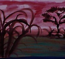 Africa Series, with tree and more undergrowth, watercolor by Anna  Lewis, blind artist