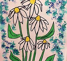 Vintage look with white daisey  in watercolor  by Anna  Lewis, blind artist