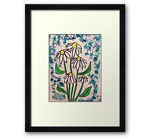 Vintage look with white daisey  in watercolor  Framed Print