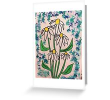 Vintage look with white daisey  in watercolor  Greeting Card