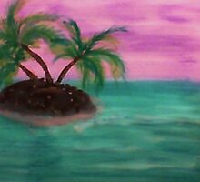 Tiny Island in the middle of the ocean,with palm trees,  in watercolor by Anna  Lewis, blind artist