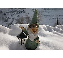 Gnome in the Snow Photographic Print