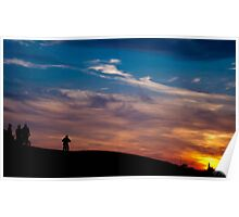 Sunset Cycling Sillhouettes Poster