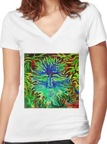 Psychedelic Sunshine Women's Fitted V-Neck T-Shirt