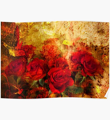 Textured Roses Poster