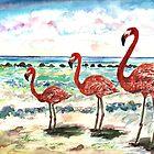 Flamingos @ The Beach by mleboeuf