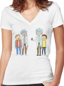 Doc and Mharti and Rick and Morty Women's Fitted V-Neck T-Shirt