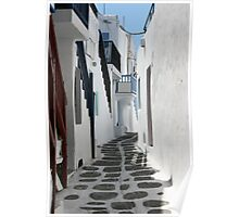 Streets of Mykonos  Poster