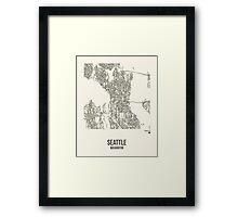 Seattle Washington Map Framed Print