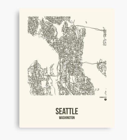 Seattle Washington Map Canvas Print