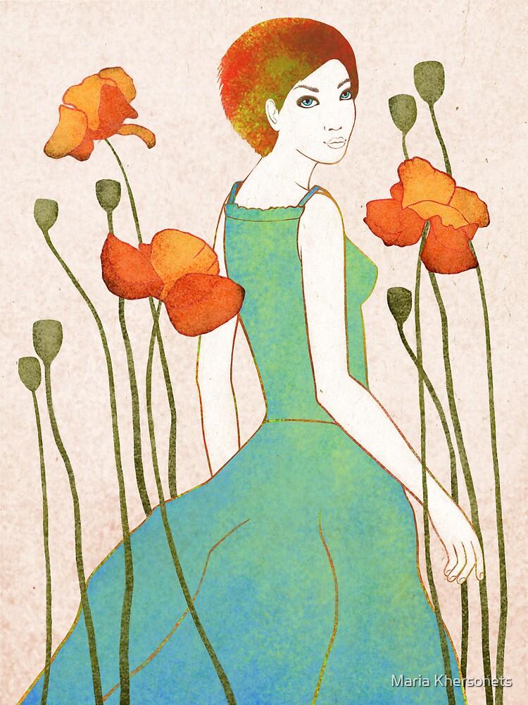 girl and poppy by bymuravka