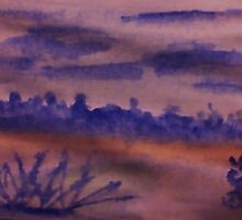 Desert Scene with Mountains in backround at dusk, watercolor by Anna  Lewis