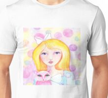 Blonde Girl with Pink Cat Unisex T-Shirt