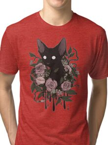 Dark Floral Feline Tri-blend T-Shirt