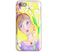 Whimiscal girl with pony tail iPhone Case/Skin