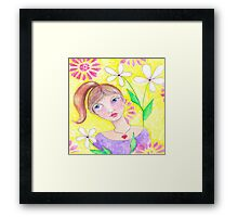 Whimiscal girl with pony tail Framed Print
