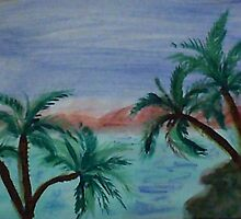Enjoying sunset thru palm trees from palm tree series, watercolor by Anna  Lewis, blind artist