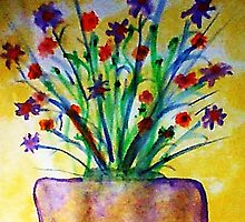 Flowers on the Patio, watercolor by Anna  Lewis