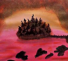 Island of Pine Trees in sunset on Pink Ocean, watercolor by Anna  Lewis, blind artist