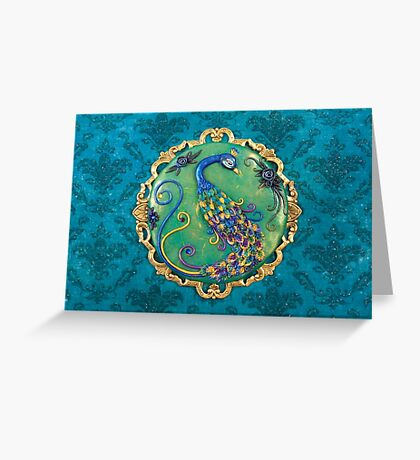 New Years Inspiration Blue - Peacock Art Greeting Card