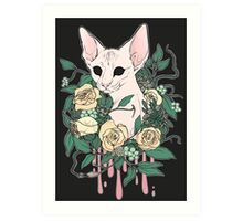 Light Floral Feline Art Print