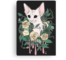Light Floral Feline Canvas Print