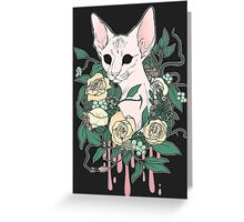 Light Floral Feline Greeting Card
