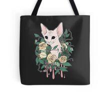 Light Floral Feline Tote Bag