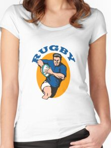 rugby player running with ball Women's Fitted Scoop T-Shirt