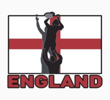 rugby player catching line out ball England flag by patrimonio