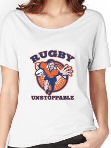 rugby player running with ball fending Women's Relaxed Fit T-Shirt
