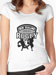 New Zealand rugby world cup 2011 ball shield Women's Fitted Scoop T-Shirt