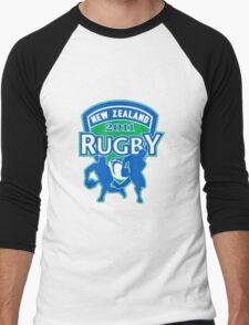 New Zealand rugby world cup 2011 ball shield Men's Baseball ¾ T-Shirt