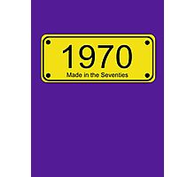 70s Number License Plate T-Shirt ~ 1970 ~ Born in the Seventies Clothing Photographic Print