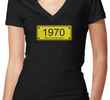 70s Number License Plate T-Shirt ~ 1970 ~ Born in the Seventies Clothing Women's Fitted V-Neck T-Shirt