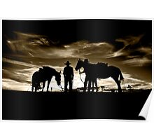 Drovers at Sunset Poster