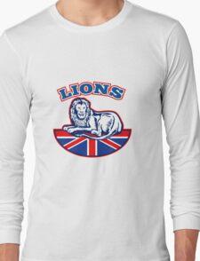Lion sitting GB British union jack flag Long Sleeve T-Shirt