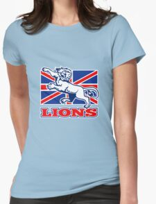 Lion attacking GB British union jack flag Womens Fitted T-Shirt
