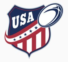 USA American rugby ball and shield by patrimonio